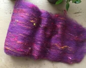 Art batt, fiber batt, wool batt, tweed fiber batt, sari silk, 1.3 ounces