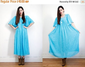 ON SALE Vintage Indian Gauze Cotton Grecian Cheese Cloth Boho Tunic Smock Navajo Hippie Maxi Dress