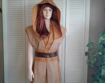 Star Wars Inspired Sleeveless Hooded Tunic with Matching Obi and Contrasting Tabards Size Small Petitie Handmade Costume