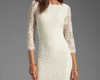 Vintage DVF Zarita lace ivory dress in Size 8, Diane Von Furstenberg ivory white cocktail party lace pencil dress