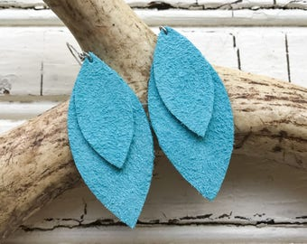 Double Petal Leather Earrings in Turquoise Waters Suede