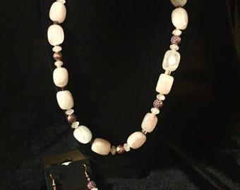 Rose Quartz Block Necklace Set