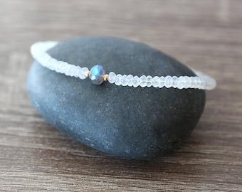 Flashing Labradorite and Moonstone Beaded Bracelet with Tiny Dot Beads / Sterling Silver / 14K Gold Filled / Rose Gold / Stackable Bracelet