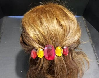 Red and Gold Rhinestone Hairclip