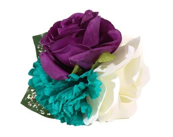 Purple Ranunculus, Ivory Rose and Teal Chrysanthemum Pinup Hair Flower Fascinator Clip with Green and Pink Leaves