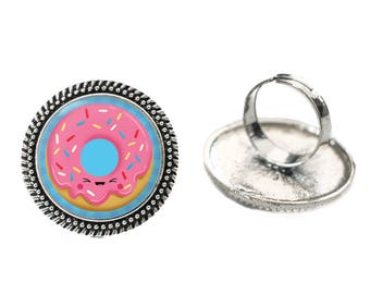 Kawaii Laughing Pink Doughnut Glass 25mm Cabochon Silver Double Rope Adjustable Ring