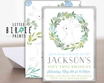 Bunny Invitation Boy Bunny Invitation Boy some bunny is turning one invitation Blue Bunny Invitation Boy first birthday invitation 1st
