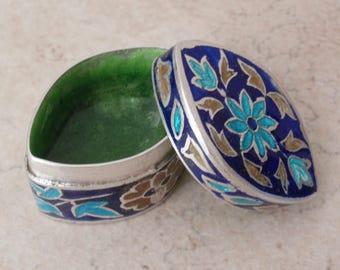 Cloisonne Enamel Box Sterling Silver Marquise Shape Trinket Ring Box Vintage 111816AL