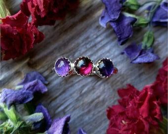 Amethyst Garnet Ring Size 5 Sterling Silver Purple Red Stone Gemstone February January Birthstone 925 Jewelry