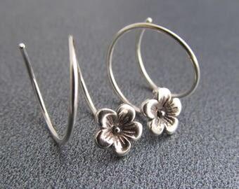 Double Piercing Earring Set / Sterling Silver Flower Hoops for 2 Holes / Spiral Threader Earrings / Double Lobe Hoop / Double Pierced Ears