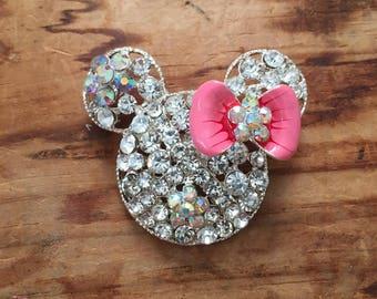 Pink Sparkle Mouse Brooch