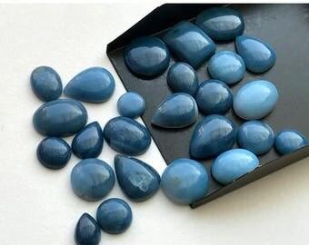 ON SALE 50% WHOLESALE 10 Pcs Blue Opal Cabochons, Flat back Cabochons, Plain Mix Shape Blue Opal Cabs, Loose Blue Opal Stones, 10-20mm - Ks3
