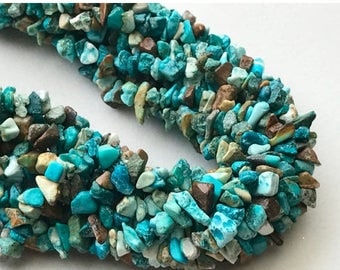 ON SALE 55% Turquoise Chips Beads, Natural Turquoise Gemstone Chips, Chip Beads, Turquoise Necklace, 4-8mm, 32 Inch - RAMA203