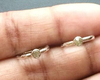 ON SALE 65% Grey Yellow Rose Cut Diamond Earrings, Rough Diamond Earrings, 925 Silver Rose Cut Diamond Hoop Earrings, Uncut Diamonds, 16mm,