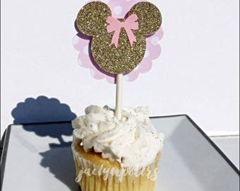 Minnie Mouse Cupcake Toppers, Pink Glitter And Polka Dots, Dessert Table Supply, Girls Birthday Party, Baby Shower Ideas, Cake Decorations