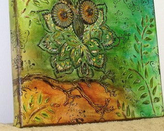 Bohemian Owl Mixed Media Wrapped Canvas Art - boho hippie chic style indie art home decor