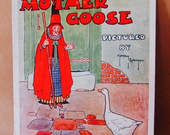 Vintage Children's Book 1940's Mother Goose, Illustrated, Softcover