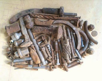 80 Rusty Metal Bolts, Nails and Parts - Industrial Salvage - Found Objects for Assemblage, Sculpture or Altered Art - Salvaged Supplies