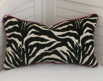 Lee Jofa Groundworks Animal Print Indoor Outdoor Pillow Cover with Sunbrella Hot Pink Tiny Piping - Square, Lumbar and Euro Sizes
