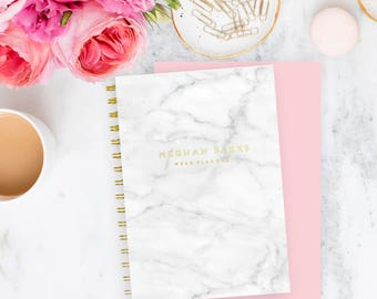 Planner Weekly Personalised Notebook - Marble Pattern Gold Tone text | Custom | Stationery | Monogram | Journal | Agenda | Organiser | Goals