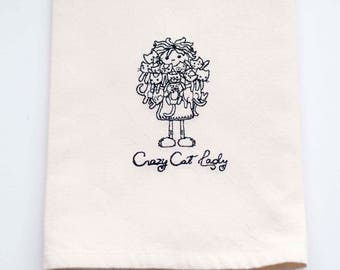 SALE - Crazy Cat Lady Tea Towel | Cat Lover Gift | Personalized Kitchen Towel | Embroidered Kitchen Towel | Kitchen Towel | Personalize Gift