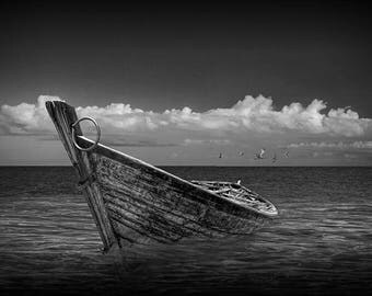 Boat in Shallow Water No.BW0129 A Fine Art Black and White Nautical Seascape Photograph