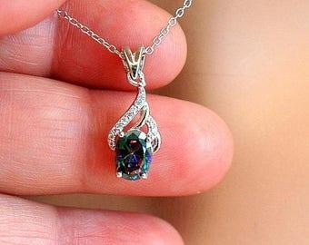 Silver Mystic Topaz Necklace, CZ Sterling Silver Necklace, Rainbow Gemstone, Mystic Topaz Pendant, Rainbow Topaz Jewelry