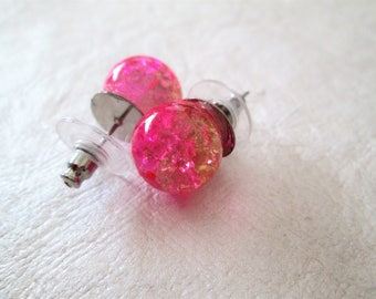 Bead stud earrings, pierced, pink and gold