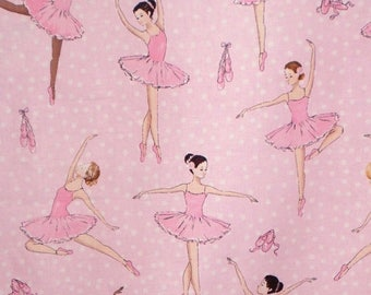 ON SALE Pink on Pink Ballerina Print Pure Cotton Fabric from Timeless Treasures--One Yard