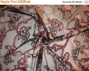 ON SALE Exotic Black and Orange Embroidered and Sequined Stretch Tulle Fabric from Spain--One Yard