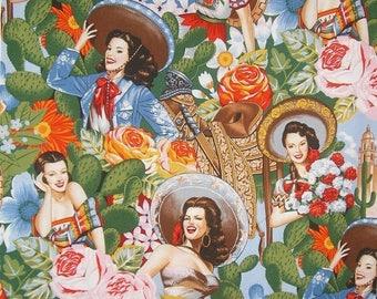 ON SALE Las Senoritas Print Pure Cotton Fabric--By the Yard
