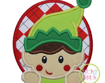 Elf Boy Oval Applique design for machine embroidery, shown with our Bridgetown font NOT Included, INSTANT DOWNLOAD