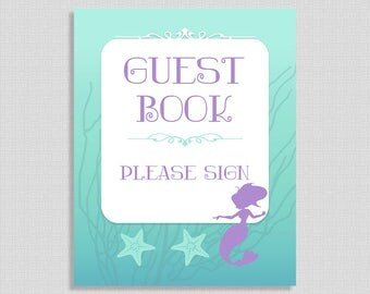 Mermaid Guest Book Sign, Aqua and Purple Shower Sign, Baby Girl Shower, INSTANT PRINTABLE