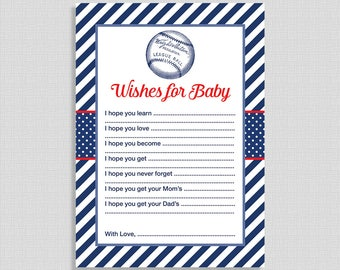 Baseball Wishes For Baby Cards, Baby Shower Activity, Red, White & Blue, Baby Boy, DIY Printable, INSTANT DOWNLOAD