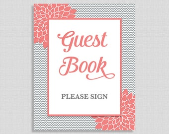 Guest Book Shower Table Sign, Grey Chevron & Coral Mums Floral Shower Table Sign, Gender Neutral, INSTANT PRINTABLE