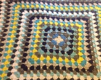 Granny Square blanket blue navy blue light blue white yellow  afghan baby blanket toddler blanket newborn gift handmade blanket baby boy