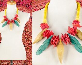 Carmen Miranda Necklace Tropical Fruit Necklace Banana Necklace Fruit Lover Necklace Bib Wood Bead Necklace