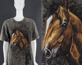 MOVING SALE Horse T-Shirt Wild Horses 90's Grunge T-Shirt Horse Lover Gift Vintage Mineral Wash T-Shirt Small Medium