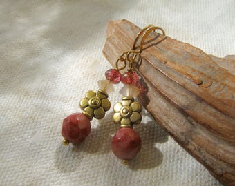 pink and gold stacked dangles