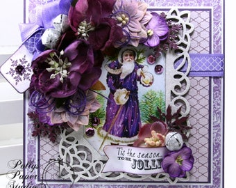 Vintage Purple Christmas Greeting Card Polly's Paper Studio Handmade