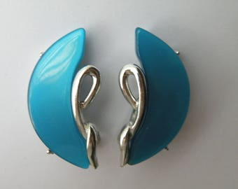 Coro blue thermoset plastic thermoplastic clip-on earrings.