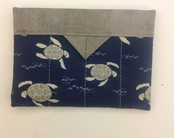 "Sea Turtles Snap Organizer Mini Bag Handmade 5-3/4"" x 4-1/4"""
