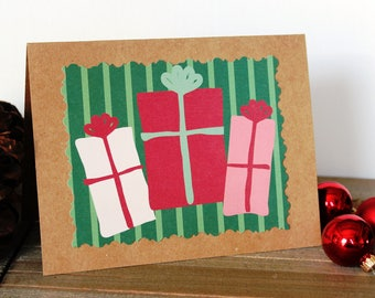 Handmade Christmas or Birthday Card/Presents/Wrapped Gifts/Brown Craft Paper/Unique/One of a Kind/Blank Inside/Free Shipping