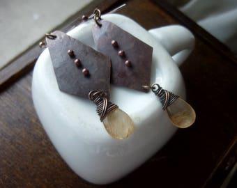 Three Dots Antique Copper with Rutile Quartz Briolette Earrings, Rustic, Chandelier, Dangle, Drop Earrings, Boho Chic, Bohemian