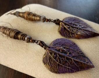Poly Clay Purple Leaves with Tyvek Fabric Bead Earrings, Statement, Bold Earrings, Long Earrings