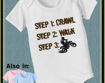 FLASH SALE Future steps crawl walk dirt biker infant bodysuit bike dirtbike motorcross dirtbike dirt bike short sleeve and long sleeve