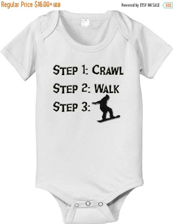 FLASH SALE short sleeve and long sleeve Steps crawl walk SNOWBOARDER baby infant bodysuit baby bodysuit, baby shower gift