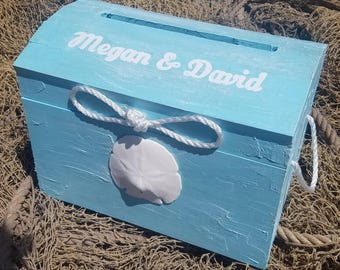 Personalized Aqua Nautical Themed Beach Wedding Card Box Treasure Chest Unity Rope White Starfish Sand Dollar Accent Birthday Money Holder