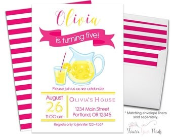 Lemonade Party Invitation - Lemonade Birthday Invite - Lemonade Invitations - Lemonade Invites - Girls Birthday Invitations - Summer Party