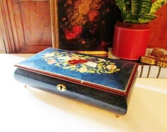 Italian Musical Jewlry Box, Marquetry Inlaid Box, Art Decor Inlaid Wood Works, Blue Jewelry Box, Florentine Decor, Jewelry Box